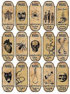 Halloween 15 Magic Voodoo Boticario Botella Etiquetas Calcomanías Scrapbooking Manualidades