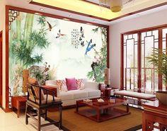 Paysage montagneux avec les bambous et les oiseaux