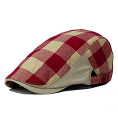 Plaid Mens Flat Cap Irish Ivy Hat Cabbie Canvas hats Red * Check this awesome product by going to the link at the image.