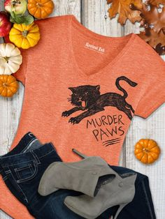 Want a fun Halloween T Shirt you can wear year round? This Black Cat T-shirt is perfect! Funny Tshirts like this Murder Paws Cat shirt makes a great impression. Celebrate Autumn in this unique Fall shirt for women. Get in the mood for pumpkin p Funny Shirts Women, Funny Tshirts, T Shirts For Women, Crazy Cat Lady, Crazy Cats, Fall Shirts, Pet Clothes, Fall Outfits, Halloween Cat