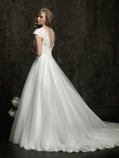 Lace Neckline Cap Sleeves And V Shaped Back Wedding Dress, Lace wedding dress ~ Feenwedding.Com