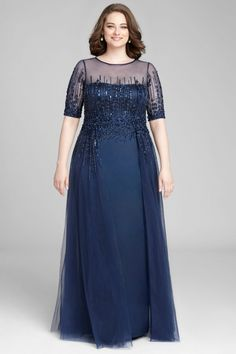 Short Sleeve Sequin Satin Gown with Tulle Overlay Kurzarm Pailletten Satin Kleid mit Tüll Overlay Plus Size Gowns, Evening Dresses Plus Size, Evening Gowns, Plus Size Formal Dresses, Formal Gowns, Mother Of The Bride Dresses Long, Mothers Dresses, Long Mothers Dress, Dress Brokat