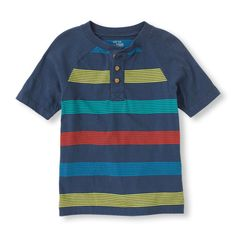 Our striped henley tee for him is totally cool for hanging out!