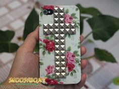 Flower Rose Hard Case With Cross Antique Silvery by moonboat, $11.99