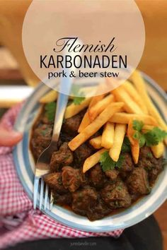 Flemish karbonaden: this is a strong pork or beef stew with beer and pear molasses. Serve this stew with a generous portion of golden Belgian fries of course! Belgian Food, Belgian Recipes, Belgian Cuisine, Pork Recipes, Cooking Recipes, Gumbo Recipes, Chilli Recipes, Slow Cooking, Welsh