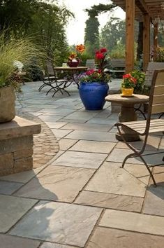 For back patio? A Techo Bloc product that resembles natural bluestone patio or natural flagstone patio is a durable, attractive, economical alternative. Backyard Patio, Backyard Landscaping, Backyard Ideas, Deck Pergola, Roof Deck, Landscaping Ideas, Concrete Backyard, Gazebo Ideas, Modern Backyard