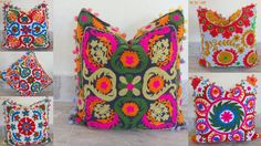 Lot Of 10Pcs Suzani Embroidered Cushion Covers Uzbek Pillow Covers Wholesale Lot #ssth