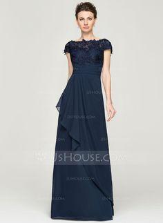 Vestidos princesa/ Formato A Sem o ombro Longos De chiffon Renda Vestido para a mãe da noiva com Babados em cascata (008062568)