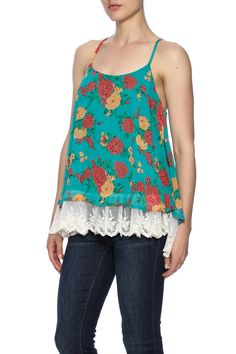 Turquoise floral printed cami top with around neckline, racer back and lace trim hem.   Lace Floral Top by Umgee USA. Clothing - Tops - Sleeveless California