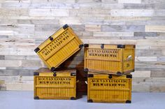 Large Vintage Wood Crate Bread Shipping @ ScoutAndForge via Etsy Vintage Wood Crates, Wooden Crates, Wooden Diy, Crate Table, Wood Trunk, Shipping Crates, Milwaukee Wisconsin, Decorative Storage, Toy Storage