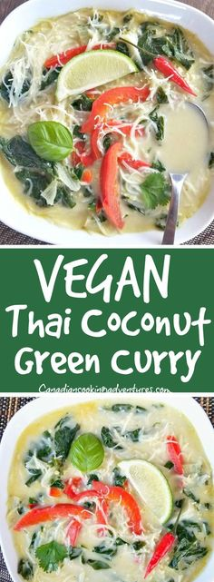 Vegan Thai Coconut Green Curry #vegan #thai #recipe #recipes #bokchoy #red #pepper #lime #kaffir #coconut #soup #curry