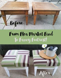 How To Create Ottomans from Flea Market Find Tables.  I used Old Fashioned Milk Paint.  Sponsored post. :http://michellejdesigns.com/create-ottomans-flea-market-find-tables/