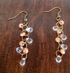 Dewdrop Beaded Earrings | Dangling Dew Drop Earrings | Boho Earrings | Clear Czech Glass Dew Drops  Light Brownish Pink Speckled Beads  $7.80 #jewelry #etsy #handmade