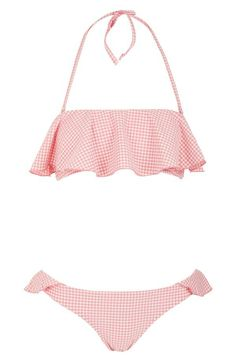 So pretty! Love this pink and white ruffle gingham bikini.
