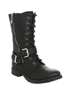Black combat style boots with star zipper accent, strap with buckle and lace-up and side zipper closure.
