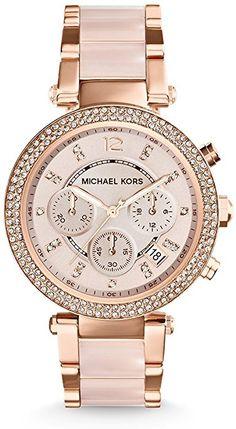 14b568ce3f9c Michael Kors Blush Acetate and Rose Gold Tone Parker Glitz Watch