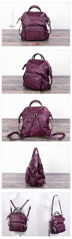 Handmade Women's Fashion Full Grain Leather Handbag Messenger School Backpack in Purple WF57