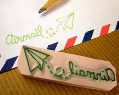 Air Mail Paper Plane rubber stamp