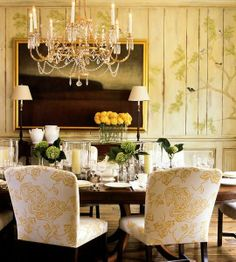 Love the freshness of this room : beautiful painted paneling and wonderful chosen chair upholstery fabric. Toddler And Baby Room, Old Wood Floors, Upholstery Fabric For Chairs, Beautiful Dining Rooms, French Country Decorating, Country French, French Decor, Dining Room Inspiration, Beautiful Interiors