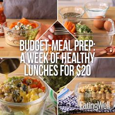 Skip the takeout! This one-week plan for packable lunches will run you less than $20 for the whole week. Prep 6 ingredients over the weekend for easy-to-build cheap, healthy lunches for work all week. #lunch #lunchideas #healthylunchideas #healthylunches #healthylunch #lunchrecipes #budget #budgetfriendly #recipe #eatingwell #healthy #mealprep #mealplan #mealplanning #budgetmealplan
