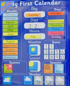 NEW Educational Magnetic Childrens My First Calendar & Weather Chart Magnetic Calendar, Diy Calendar, Printable Calendar Template, Classroom Calendar, School Calendar, Classroom Charts, Preschool Weather Chart, Weather Charts, Preschool Charts