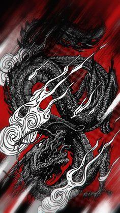 Dragon Wallpaper Iphone, Japanese Wallpaper Iphone, Ps Wallpaper, Asian Wallpaper, Dark Wallpaper Iphone, Trippy Wallpaper, Graffiti Wallpaper, Aesthetic Iphone Wallpaper, Dragon Tattoo Art