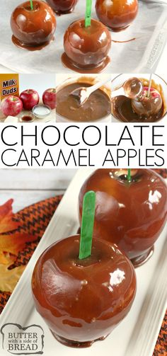 Chocolate Caramel Apples are made with melted Milk Duds adding chocolate flavor to classic caramel coated apples! This easy caramel apple recipe is perfect for Halloween or any Fall party! Fall Dessert Recipes, Winter Desserts, Party Desserts, Sweet Desserts, Fall Recipes, Delicious Desserts, Baking Desserts, Health Desserts, Fudge Recipes