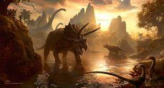 Dinosaur Illustration, Cretaceous Sunset by *kerembeyit