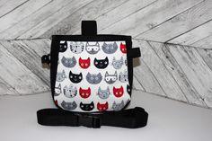 Cats Chalk Bag, adjustable belt, large back pocket, black, grey, white, red, rock climbing, chalk bag