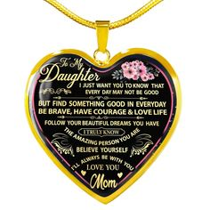 To My Daughter Necklace Gift From Mom Working Mother, Working Moms, Personalized Family Gifts, Glass Coating, Daughter Necklace, Beautiful Dream, Custom Engraving, First Names, Dog Tag Necklace