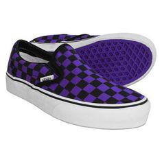 Vans -  Checkerboard  Classic Slip-On Shoe (Black Purple) 6d4cf850a