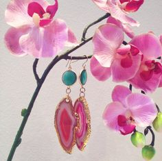 Beautiful Pink Agate Slice Earrings with 24k gold electroplated edges featuring bezel green onyx