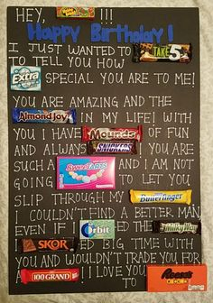 Gift For Boyfriend Birthday Candy - Gift Birthday Gifts For Boyfriend Diy, Creative Gifts For Boyfriend, Cute Boyfriend Gifts, Birthday Gifts For Best Friend, Best Friend Gifts, Surprise Boyfriend, Dear Boyfriend, Boyfriend Stuff, Bff Gifts