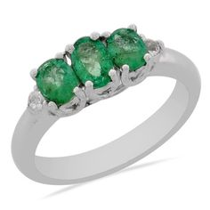 Natural Zambian Emerald Kelly Green 3 Stone Ring Pt Ovr Sterling Silver Sz 7 New