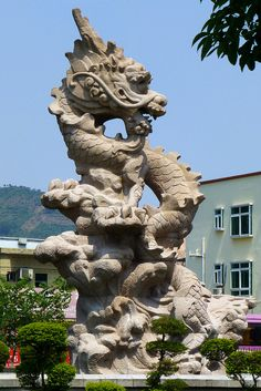 Stone Dragon statue Zhangmutou town china