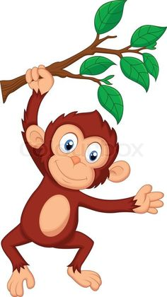 Stock vector ✓ 10 M images ✓ High quality images for web & print | Vector illustration of Cute monkey cartoon hanging