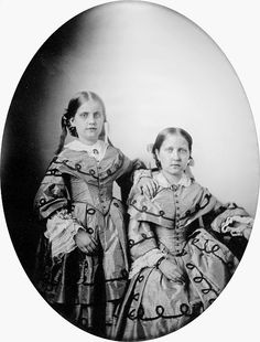 Their Imperial Highnesses Princess Leopoldina (1847-1871) and Isabel, Princess Imperial (1846-1921) of Brazil, 1855