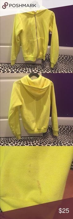 American Apparel Neon Yellow Zip-Up Hoodie American Apparel neon yellow zip-up hoodie. Minor stains throughout and missing string for hood. Feel free to comment with any questions or to make an offer! American Apparel Tops Sweatshirts & Hoodies