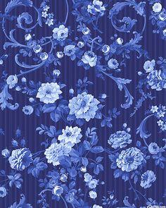 Porcelain Blue - Flourishing Roses - Sapphire Blue