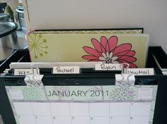 Must make one of these for new school year, folder for each kids w schedule clipped to front