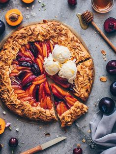 Stone Fruit Galette with peaches, apricots, nectarines, plums, ice cream. Vegan Sweets, Vegan Desserts, Vegan Recipes, Fruit Galette Recipe, Apricot Galette Recipe, Quesadillas, Vegan Pie Crust, Crust Recipe, Gastronomia