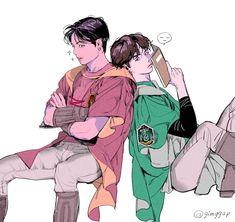 Namjin, Jikook, Hogwarts, Fall Games, Fanfiction, Bts Imagine, Harry Potter Fan Art, Bts Drawings, Cute Chibi