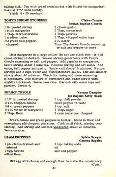 A book of favorite recipes. Retro Recipes, Old Recipes, Vintage Recipes, Cookbook Recipes, Dinner Recipes, Cooking Recipes, Creole Recipes, Cajun Recipes, Shrimp Recipes