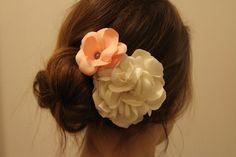 Coral and Ivory Gardenia Bridal Hair Clip 2 by DesignerTrang, $36.00