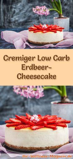 Rezept für Low Carb Erdbeer-Cheesecake - kohlenhydratarm, kalorienreduziert, ohne Zucker und Getreidemehl