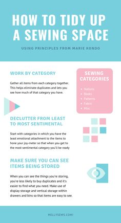 Using the Marie Kondo Method to Tidy Up Sewing Rooms - Melly Sews - The principles of Tidying Up konmari style in a craft room - Sewing Desk, Sewing Spaces, My Sewing Room, Sewing Rooms, Sewing Room Organization, Craft Room Storage, Diy Crafts For Gifts, New Crafts, Craft Tutorials
