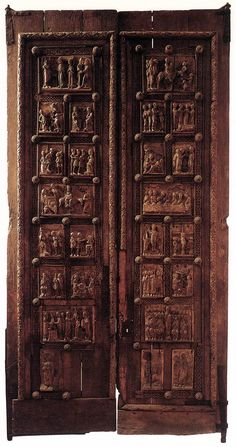 UNKNOWN MASTER, German Doors c. 1065 Carved wood, height 200 cm St. Maria im Kapitol, Cologne