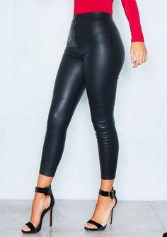 12b773a4ec04 Emi Black Faux Leather Skinny Trousers. Hosen · Glänzenden Leggings ...