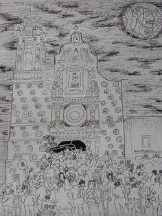 Autor: Alfredo Valencia Título: Encuentros en el Sendero Técnica: Tinta sobre papel