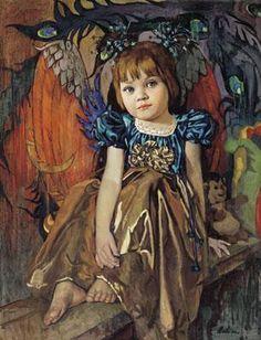 Sayda Afonina (1965, Russian) Portrait Of The Artist's Daughter, Vasilisa